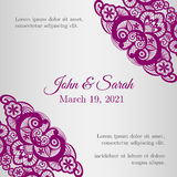 Vintage silver wedding invitation cover with lace Royalty Free Stock Photo