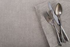 Vintage silverware for country garden party Stock Photo