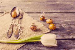 Vintage silverware fork and spoon with easter quail eggs on old stock image