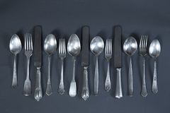 Vintage silverware royalty free stock photos