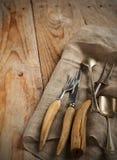 Vintage silverware on wooden background Stock Photo