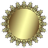 Vintage silvery round frame. With place for the text Stock Photography
