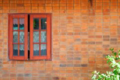 Vintage simple house old brick wall and rustic exterior window Stock Photography