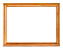 Vintage simple narrow wooden picture frame. With cut out blank space isolated on white background Royalty Free Stock Images