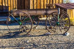 Vintage Simple Wooden Wagon In Early Morning Stock Photo
