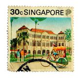 Vintage Singapore Stamp Stock Photos