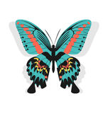 Vintage single colorful butterfly isolated on whit Stock Photography