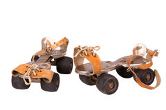 Vintage skates. With skin belts Royalty Free Stock Photos