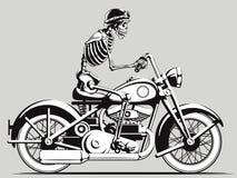 Vintage Skeleton Biker Vector Silhouette Royalty Free Stock Image