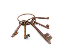 Vintage skeleton keys. On ring isolated over white background royalty free stock photography