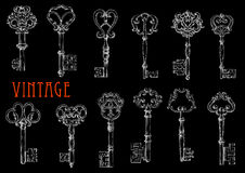 Vintage skeleton keys chalk sketches on blackboard Royalty Free Stock Photo