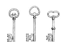 Vintage skeleton keys in engraving style Royalty Free Stock Photography