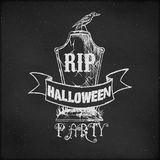 Vintage sketch on blackboard for Halloween Party. Hand drawn vintage sketch on blackboard for Halloween Party - tombstone Royalty Free Stock Photos