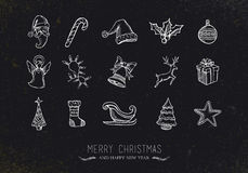 Vintage sketch Christmas icons Stock Photography