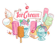 Vintage sketch fruit ice cream vector summertime poster Stock Photography