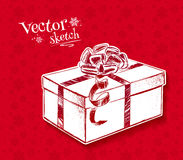 Vintage sketch of gift box. On red background Royalty Free Stock Photography