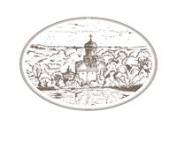 Vintage sketch illustration Russian Christian Orthodox church in the village. Panorama landscape with an old temple and. A chapel in thicket of trees, sky above Stock Photography