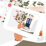 Vintage sketch postcard, Greece house and flowers vector illustration