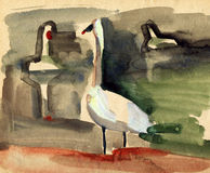 Vintage sketch of a swans. Vintage sketch of a birds swans Royalty Free Stock Photos