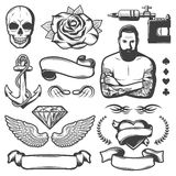 Vintage Sketch Tattoo Studio Elements Set. With master ribbons skull rose anchor wings diamond heart machine isolated vector illustration Royalty Free Stock Photos
