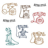 Vintage sketched handle telephone icons Royalty Free Stock Images