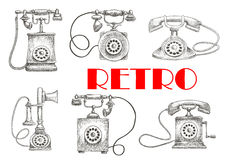 Vintage sketched rotary dial telephones symbols Royalty Free Stock Photos