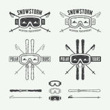 Vintage ski and arctic expeditions logos, badges, emblems Royalty Free Stock Photography
