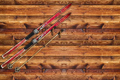 Vintage Ski fixed on wooden wall Royalty Free Stock Photos