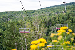Vintage Ski Lift in Summer. An old two person chairlift in Northern Minnesota with dense forest and blooming wildflowers Stock Photography