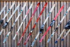 Vintage skis Stock Photos