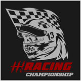 Vintage Skull Checkered Flags Racing Stock Photography