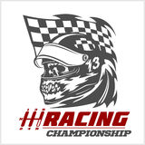 Vintage Skull Checkered Flags Racing Stock Photo