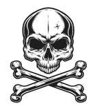 Vintage skull and crossbones monochrome template. Isolated vector illustration stock illustration