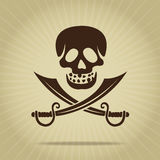 Vintage Skull with Crossed Swords Silhouette. Retro Styled Skull with Crossed Swords Silhouette Stock Images
