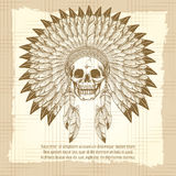 Vintage skull in feathers headdress poster Stock Photo
