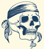 Vintage Skull with feathers. Vector illustration. Isolated Hand Drawn vector Skull with feathers stock illustration