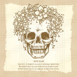 Vintage skull sketch in roses wreath royalty free illustration