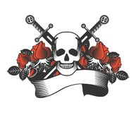 Vintage skull with sword and wings emblem Royalty Free Stock Images
