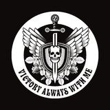 Vintage skull with sword and wings emblem Stock Image