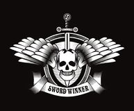 Vintage skull with sword and wings emblem Royalty Free Stock Photo