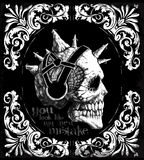 Vintage Skull T shirt Graphic Design Stock Image