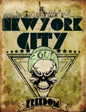 Vintage skull tee graphic design New york city Stock Image