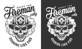 Vintage skull wearing fireman helmet badge royalty free illustration