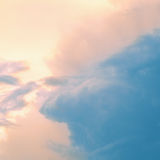 Vintage sky.Beautiful sunset. Blue cloud stock photo