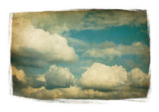 Vintage sky with fluffy clouds isolated. vector illustration