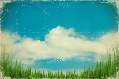 Vintage sky.Nature background on old paper texture Stock Image