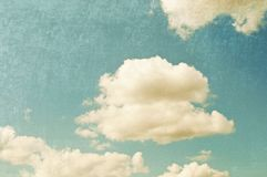 Vintage look sky. Vintage sky, retro style background. Added noise and scratches stock photos