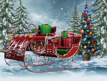 Vintage sleigh with gifts. Vintage sleigh with Christmas gifts Stock Image