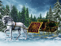 Vintage sleigh and a horse Stock Photography