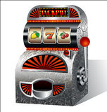Vintage slot machine. With pull handle stock illustration